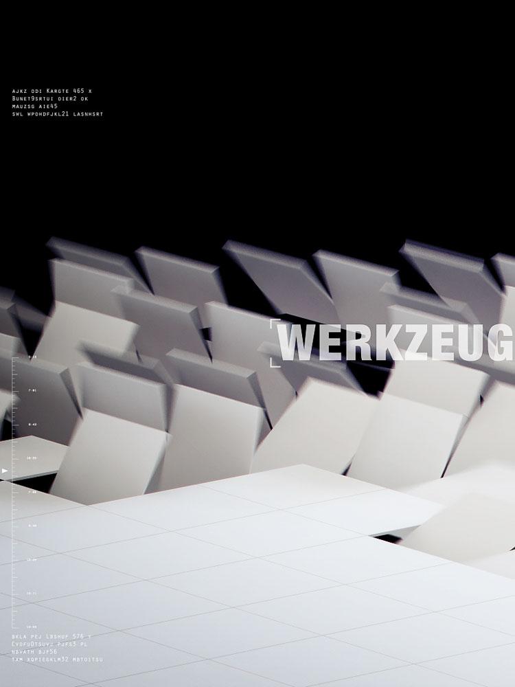 Ein weißer Kachelboden, der im Bildvordergrund noch plan aufliegt, in der Bildmitte aber viele bereits gedrehte bzw. hochgeklappte Kacheln aufweist. Dort wo keine Kacheln sind, ist alles schwarz. Schicke 3D Animation.