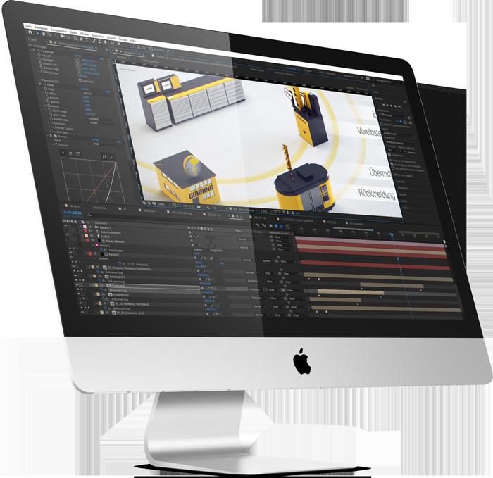 Ein iMac, das Programm After Effects und ein paar Kreise die von Maschinen ausgehen. Hier wird die 3D Animation zusammengefügt.