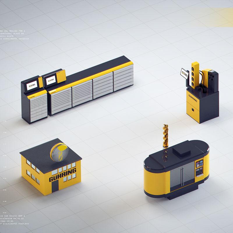 Isometrische Ansicht auf miniaturartige Modelle auf weißem gekachelten Boden. Der Werkzeugschrank, eine Werkbank, und noch zwei Stationen für das Wekrzeug. Gut erklärtes Produktvideo