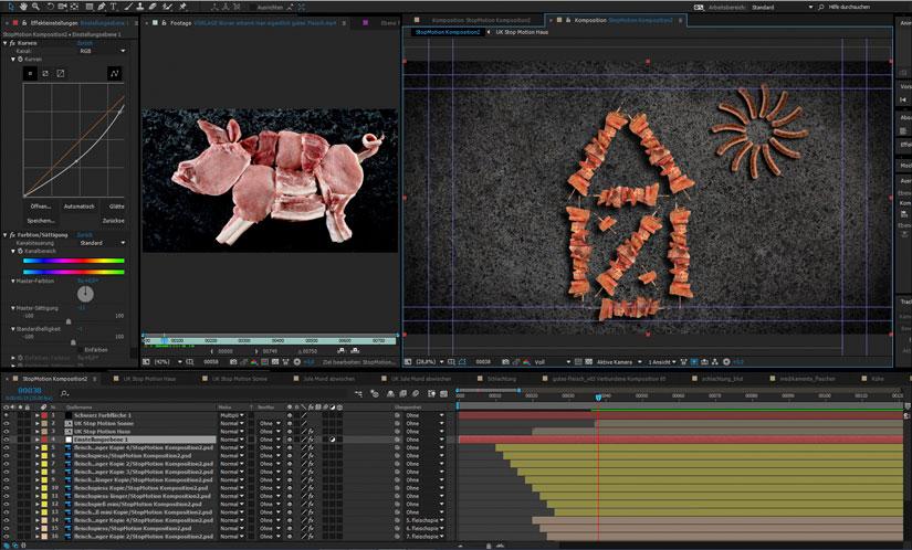 Screenshot aus dem Compositing Programm After Effects. Viele kompliziert aussehende Fenster und zwei Bilder. Auf der linken Seite befindet sich auf einem marmorartigen Untergrund eine aus Fleischstücken nachgebaute Schweinesillhoutte. Zur rechten das Haus vom Nikolaus aus Fleischspießen mit einer Sonne aus Würstchen.