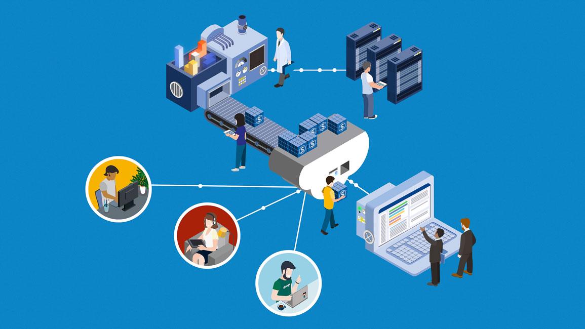 Illustration einer fabrikartigen Szenarie mit vielen Maschinen, vielen Personen und vielen Verbindungen. Der kleinteilig und komplex - es scheint um irgendwas datenverarbeitendes zu gehen.