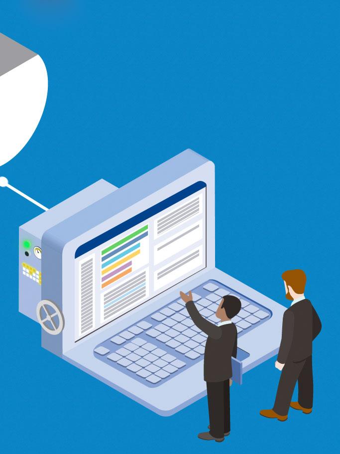 Illustration eines mannhohen Computermonitors mit angeschlossener Tastatur. Davor stehen zwei Männder in schwarzen Anzügen die den Bildschirm betrachten, den ich in After Effects komplett nachgebauen und animieren durfte