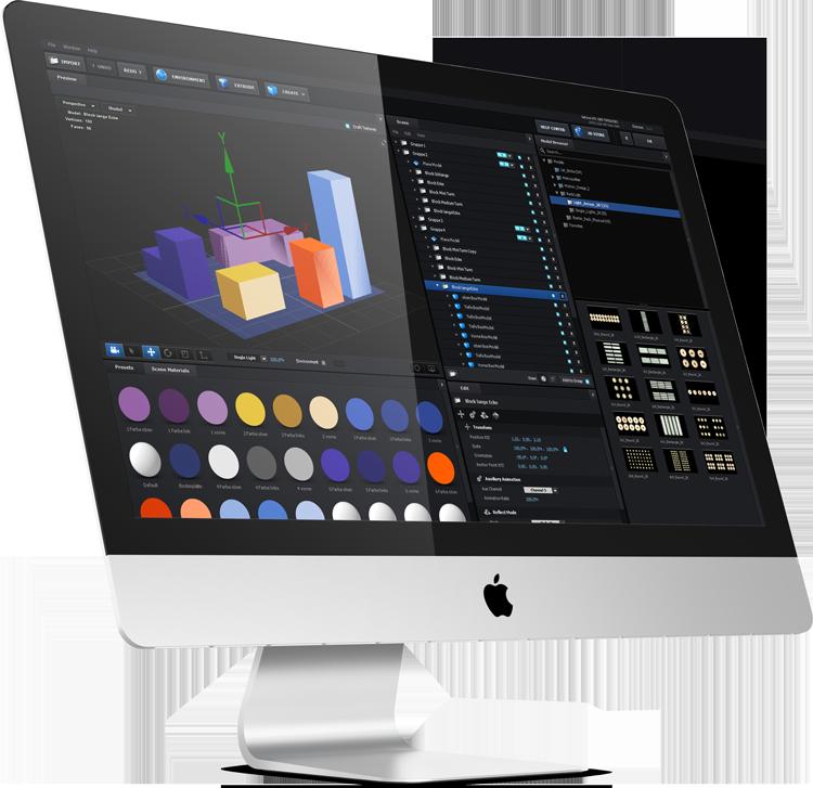 Auf einem iMac läuft das After Effects PlugIn Element 3D. Mit vielen Farben werden gerade bunte Bauklötze gebaut.