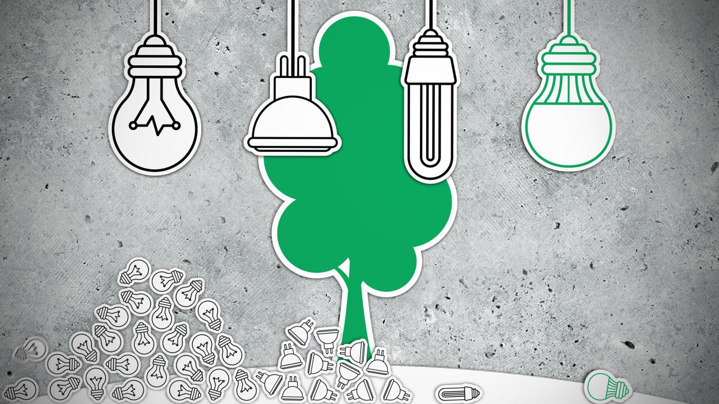 Erklärvideo Screenshot: Blick auf ein Betontableau mit stickerartigen Illustrationen: Während im Vordergrund unterschiedliche Leuchtmittel herunterfallen und sich zu Bergen häufen, wächst im Hintergrund ein grüner Baum.