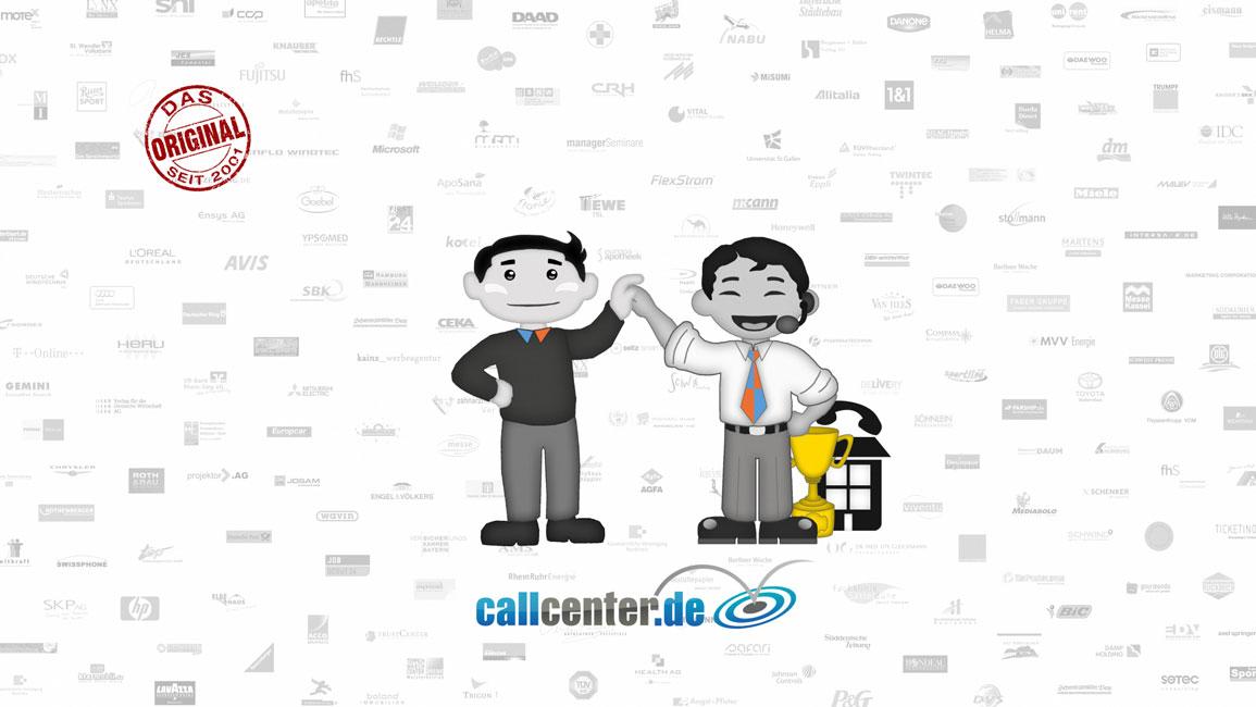 Blick auf weißen Untergrund. Zwei illustrierte Männder geben die Hände - im Hintergrund dutzende Firmenlogos. Die Schlusstafel des Erklärvideos