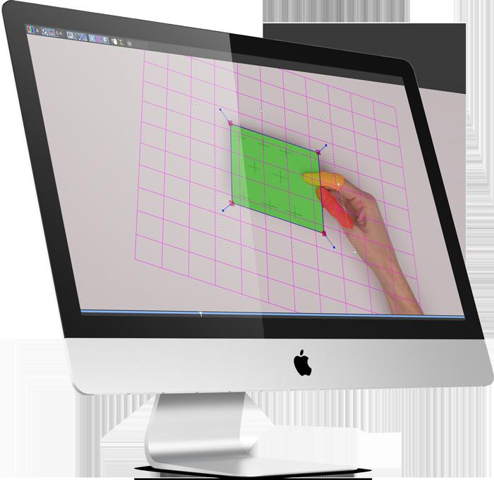 Hinter den Kulissen der Erklärvideo Produktion: Ein eingeschalteter iMac - auf dem Bildschirm ist eine reale Hand mit Karte zu sehen. Beide sind mit unterschiedlich farbigen Flächen übermalt