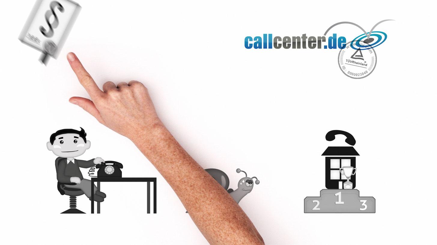 Blick auf weißen Untergrund mit Illustrationen und realer Hand, die einen gezeichneten Vertrag wegschnickt. Daneben ein Mann am Schreibtisch mit Telefon und eine Schnceke in der Mitte. Zur rechten steht auf einem Siegerpodest ein Callcenter. In der oberen rechten Ecke befindet sich das Logo von Callcenter.de