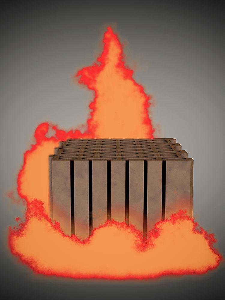 Ein computergenerierter Ziegel (3D Animation) inmitten eines computergenerierten orangenen Feuers vor neutral grauem Hintergrund