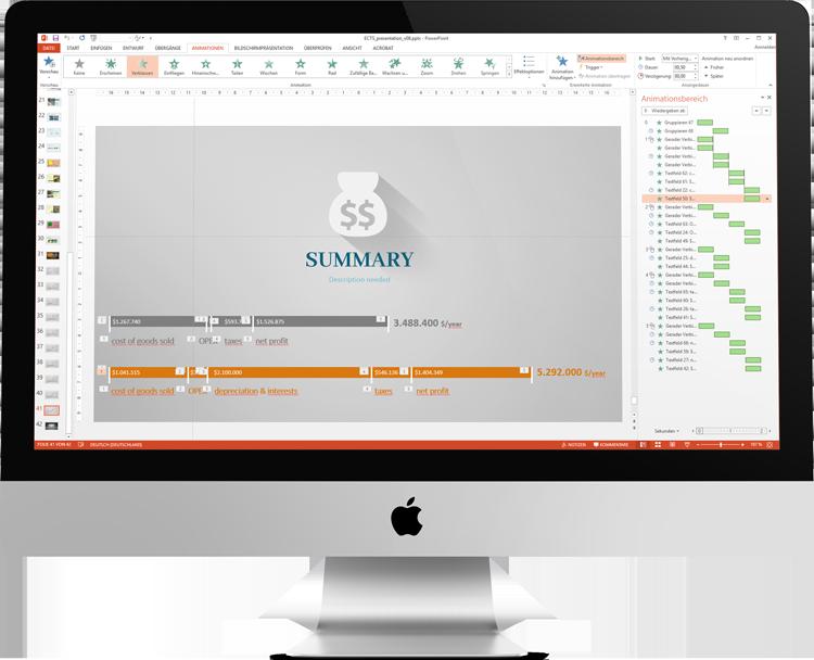 Making of des Designs: Ein iMac mit Microsoft PowerPoint zeigt einen Sack mit Dollarzeichen - das Animationsfenster im rechten Bereich ist übersäht mit Überblendungen