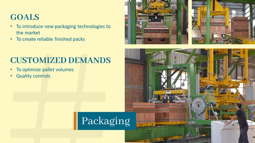 Eine Powerpointfolie mit drei Fotos von Verpackungsmaschinen in der Ziegelproduktion. Auf der linken Seite stehen die Ziele und Wünsche in diesem Verpackungssegment.