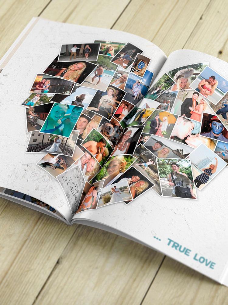 Blick in die aufgeschlagene Hochzeitszeitschrift. Die Doppelseite zeigt eine Fotocollage in Herzform: Viele einzelne Bilder des Brautpaares formen ein großes Herz