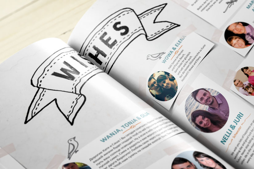 Nahaufnahme der Hochzeitszeitschrift: Eine Doppelseite mit vielen Wünschen der Gäste, die auch mit Foto abgelichtet sind.