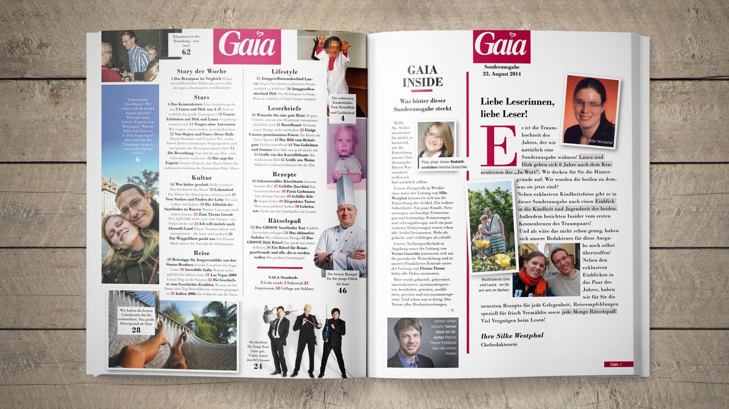 Draufsicht auf die aufgeschlagene Hochzeitszeitung auf einem Holztisch. Zu sehen ist das Impressum mit vielen Artikeln und vielen Bildern.