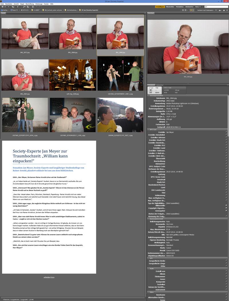 Screenshot des Programms adobe bridge. Zu sehen sind viele Fotos und ein Text. Die Grundlage für einen Artikel der Hochzeitszeitung.