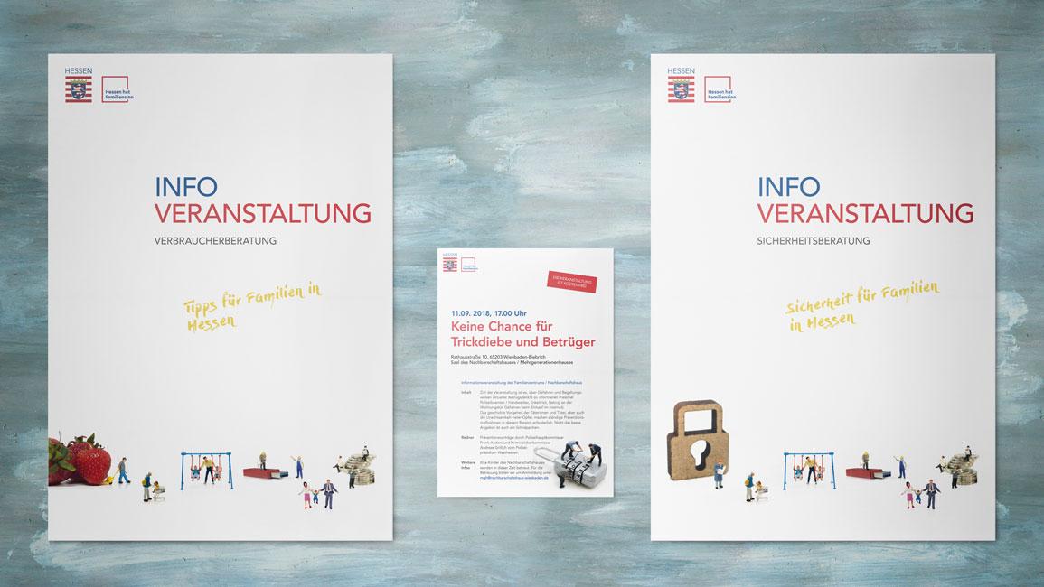 Die von mir gestalteten Printerzeugnisse (Layout und Design). Zwei DinA1 Plakate die mehr Bilder enthalten und ein DinA3 Plakat, das viel Text enthält. Alle Plakate bewerben Infoveranstaltungen des Landes Hessen.