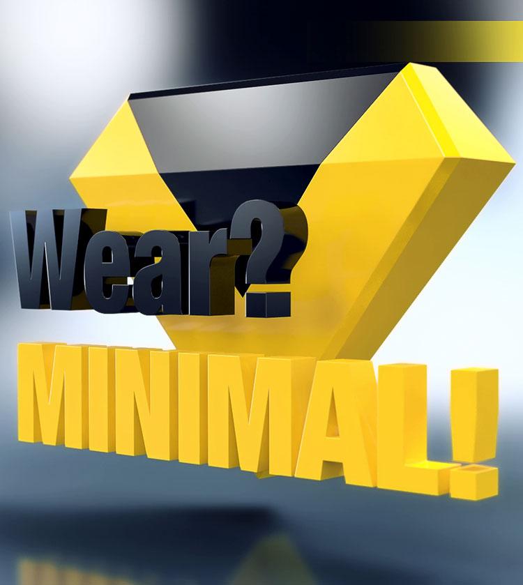 Vor einem Logo, das aus zwei ineinander gesetzten Dreiecken (gelb und schwarz) besteht wird das Kapitel eingeblendet: Verschleiß? Minimal