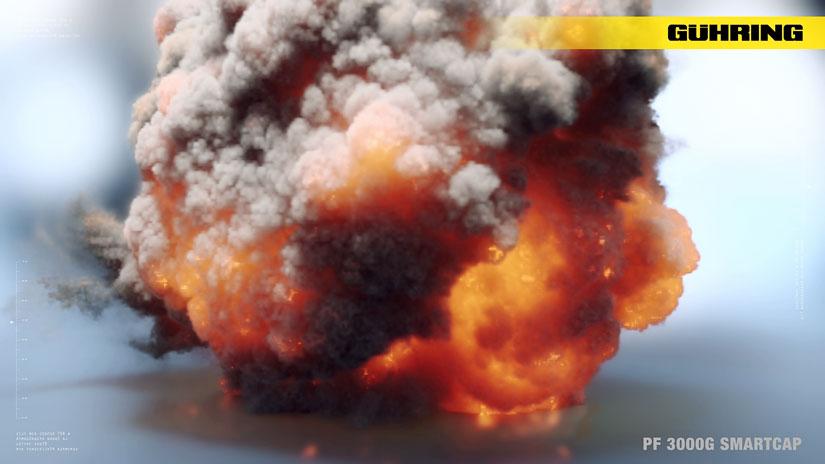 Eine gewaltige Explosion auf spiegelndem Boden.