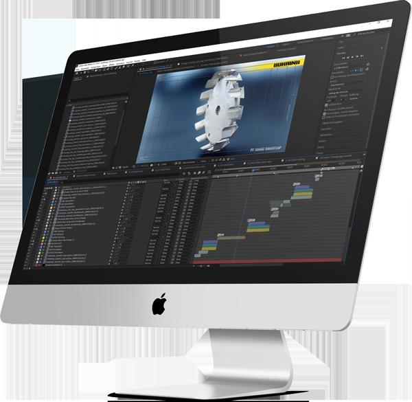 Ein iMac. Mit After Effects. Das Compositing für die Exposé GmbH nimmt Formen an: die Timeline ist gut gefüllt, das Bild wirkt final.