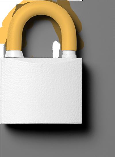 Ein liegendes Schloss mit leichtem Schatten frontal von oben fotografiert. Es ist komplett weiß eingefärbt. Nur der Bügel ist Orange. Eine schöne Analogie zur Datenschutzerklärung.