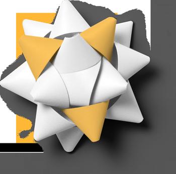 Ein Foto von oben herab fotografiert. Ein aus Papier gebastelter dreidimensionaler Stern -. drei der zahlreichen weißen Ecken sind Orange eingefärbt. Steht für die Vielfalt und Komplexität, die von mir erstellte Medien wie Imagefilme, Erklärvideos oder Broschüren so sein können.