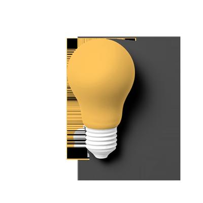 Eine Glühbirne liegt auf dem Boden und hat einen leichten Schattenwurf. Das Gewinde ist komplett weiß und ohne Glanz. Die Birne selbst ist Orange. Sinnbild für die Motivation